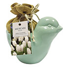 Ceramic bird and muscari gift set