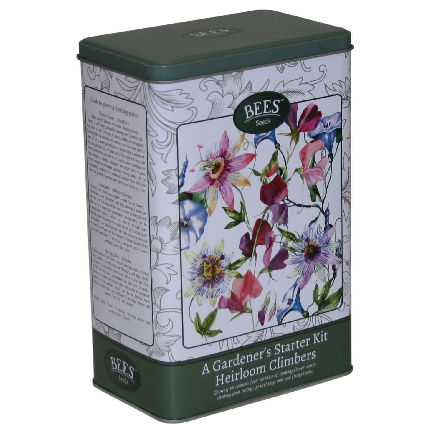 Click to view product details and reviews for Heirloom Climbers Starter Tin Bees Seeds Gift Tin.