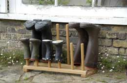 Six pair oak boot rack