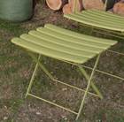 Folding low metal footstool