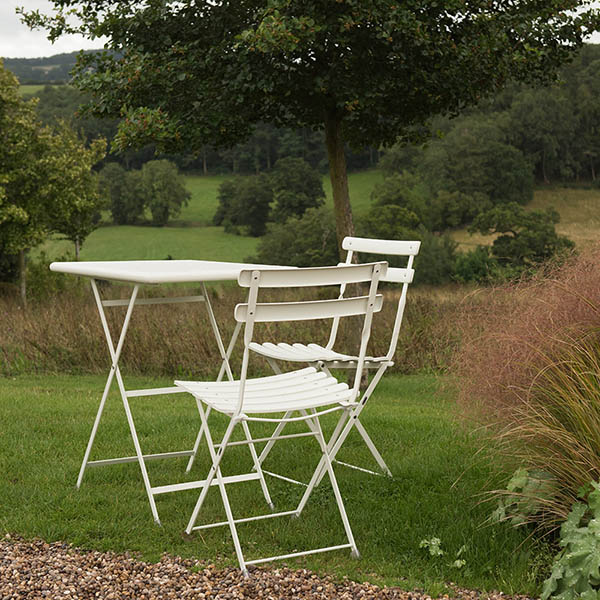Buy rome folding bistro set white for Cheap home furniture uk