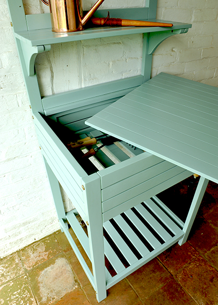 Buy space saving potting bench with storage eau de nil - Potting table with storage ...