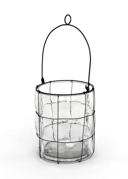 Blown glass lantern - low