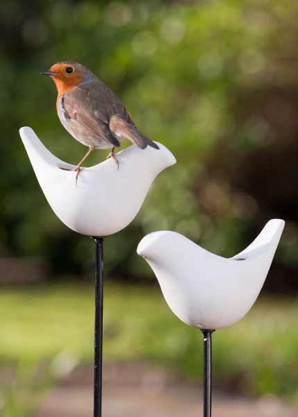 Porcelain bird feeder on a stake