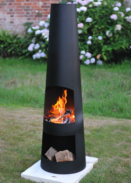 Contemporary steel chiminea circo