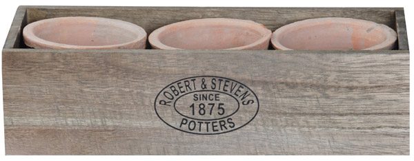 Aged terracotta pot crate set