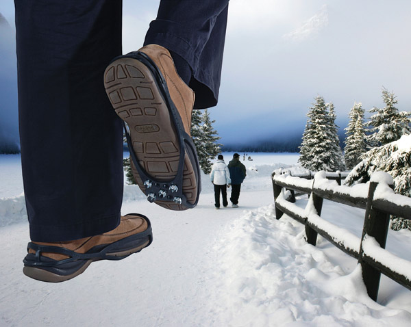 Snow and ice shoe grippers