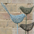 Wire bird on a stake - sky blue