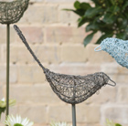 Wire bird on a stake - pewter