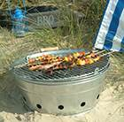 Galvanised metal beach barbecue