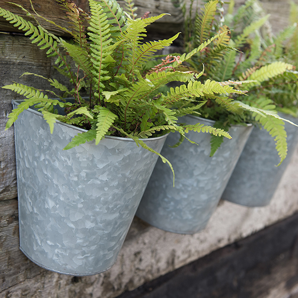 Set of three galvanised wall planters
