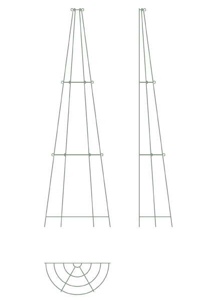 Elegant tiered metal obelisk - three tier wall