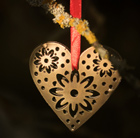 Set of 4 hanging hearts - antique brass