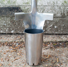 Stainless steel long handled bulb planter