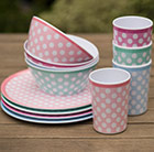 Waitrose set of 4 melamine bowls, plates and tumblers