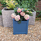 Navy blue hardwood square planter