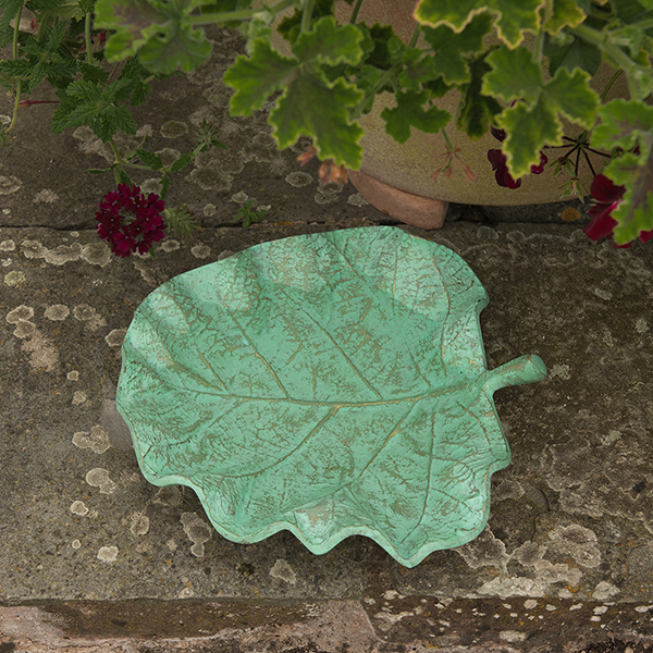 Verdigris leaf bird bath