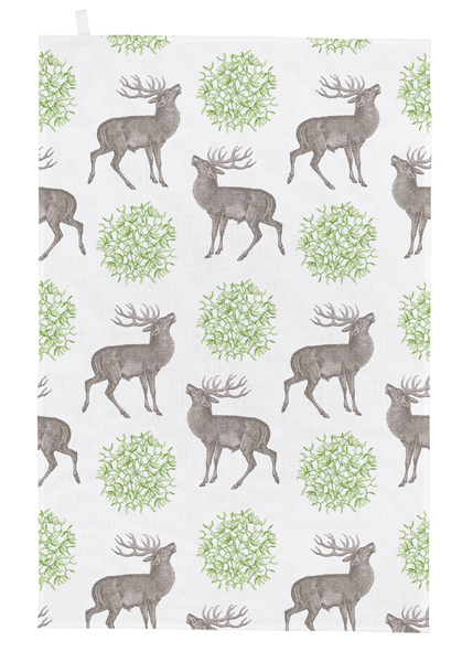 Stag and mistletoe tea towel
