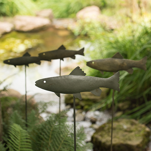 Brass metal trout (double sided)