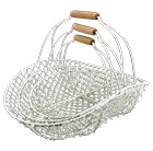 Flat wire basket with handle (set of 3)