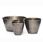 Spun metal planter - antique pewter