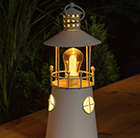 Metal lighthouse lantern with filament bulb