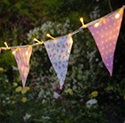 30 solar warm white LED floral bunting lights