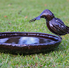 Metal kingfisher bird bath