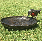 Metal robin bird bath feeder
