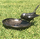 Metal wagtail bird bath feeder