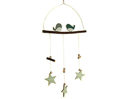 Blue birds with hanging stars