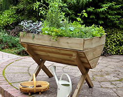 Wooden kitchen garden trough
