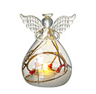 Light up snow scene glass angel