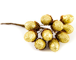 Glitter acorn pick bunch - gold