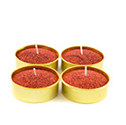 Red glittered wax tealight