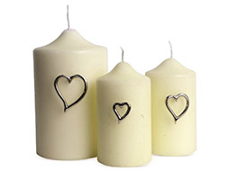 Candle jewellery - hearts