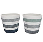 Grey/green striped concrete pot cover